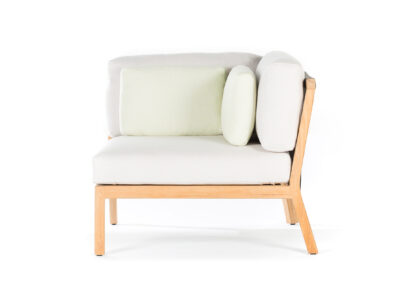 Wooden corner chair with white cushions