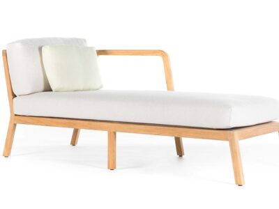 White sun lounger with wooden legs on white background