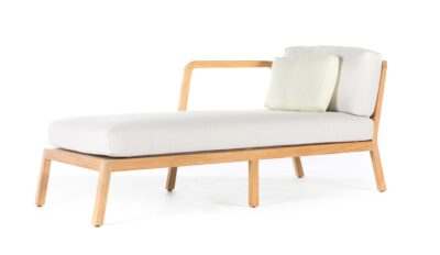 Wooden love seat with white pillows