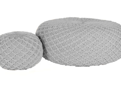 Two grey outdoor foot rests, one small, one large