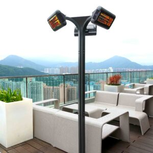 Outdoor heater with three heating pads on balcony that overlooks view of mountains