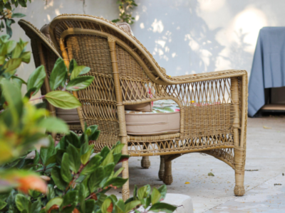 rattan furniture in garden