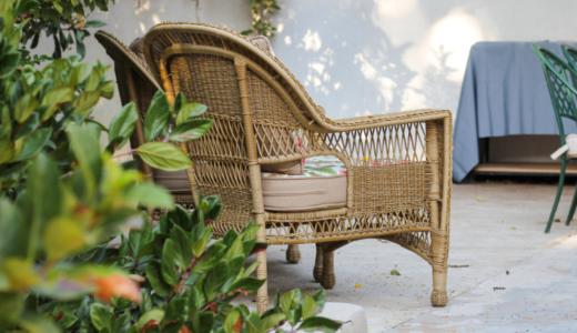 rattan furniture in garden